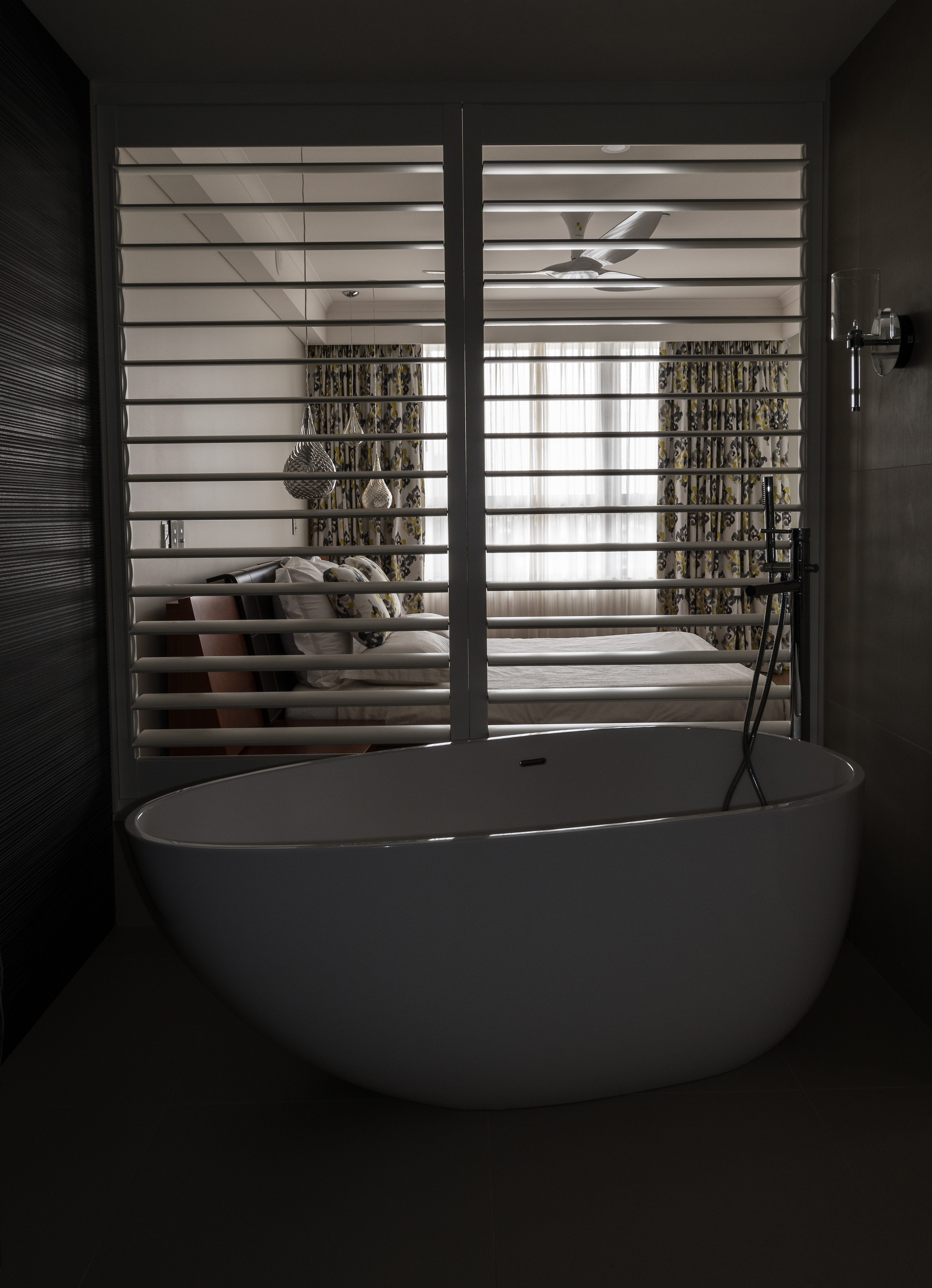 Bath, shutters, curtains and sheers