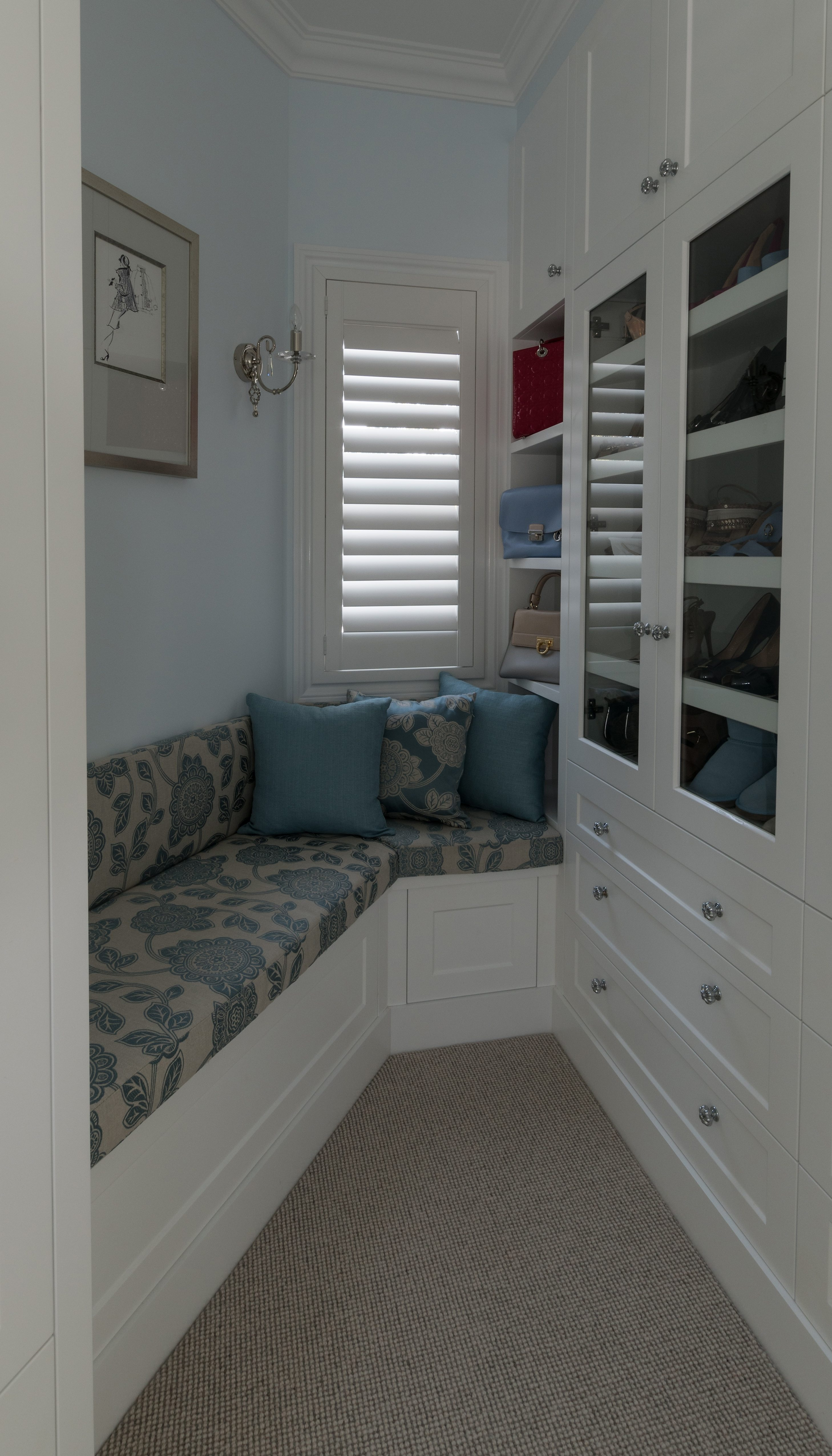 Custom chair cushions and feature cushions with timber blinds-shutters open
