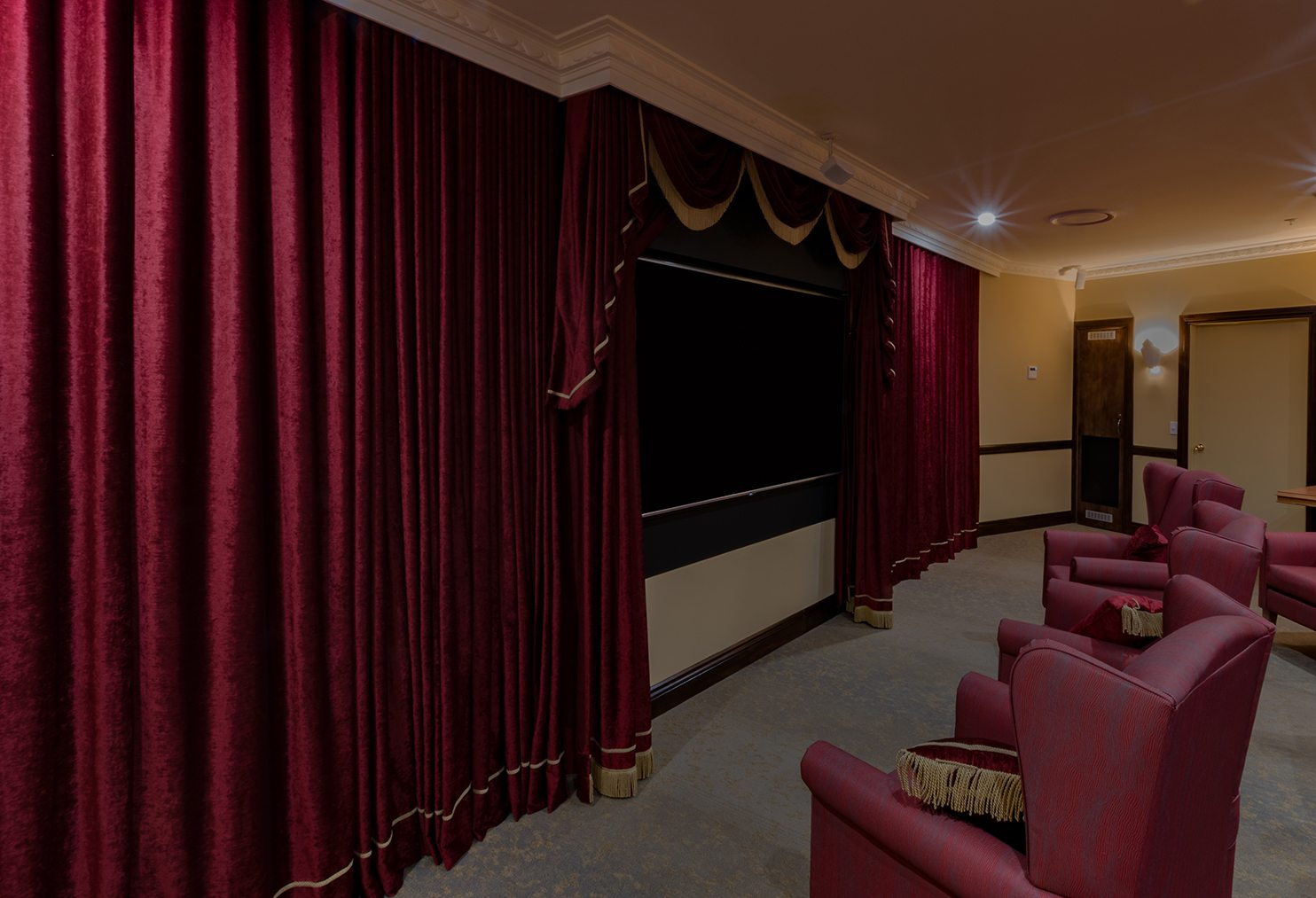 Theatre velvet drapes with swag and tails-1