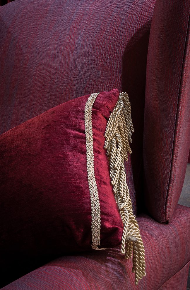 Upholstery-Cushion matching theatre drapes in red velvet and gold braiding